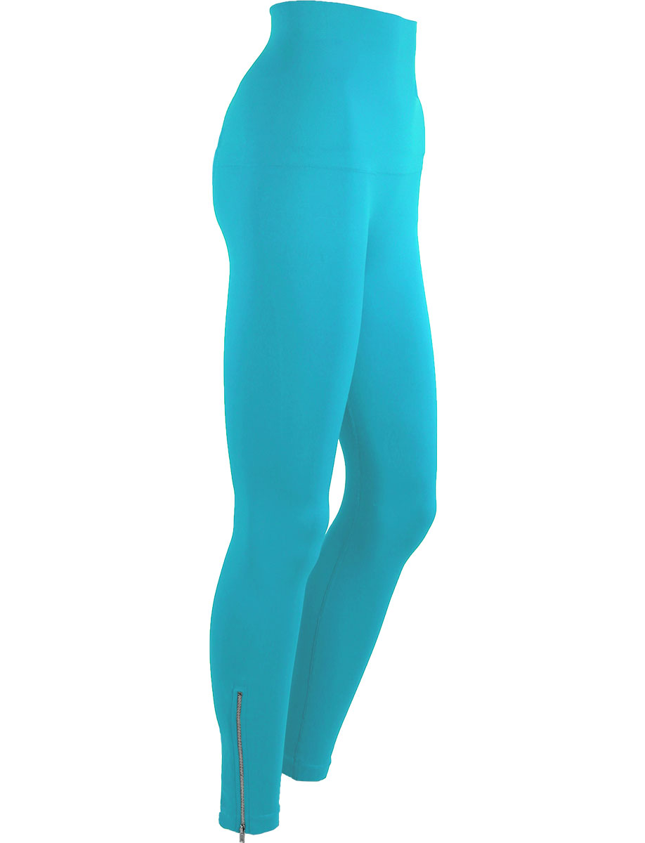 Turquoise with Calf Zippers* Magic Tummy Control SmoothWear Leggings