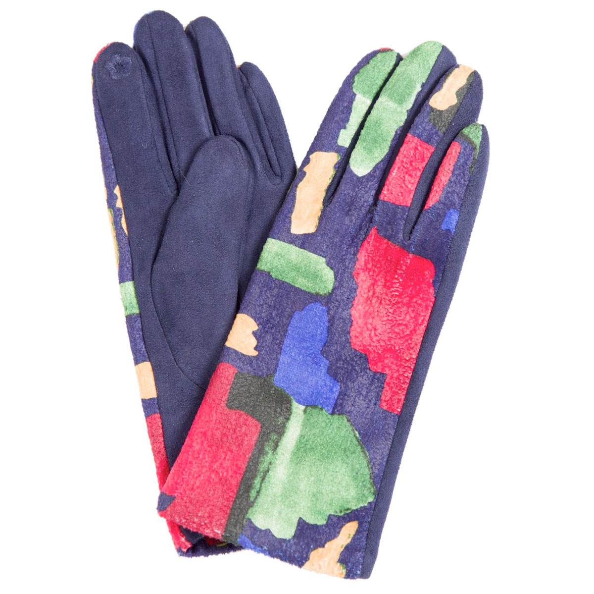 Touch Screen Smart Gloves - Fleece Lined  - 840-BL Sueded Abstract Design Smart Gloves (Blue Palms)*