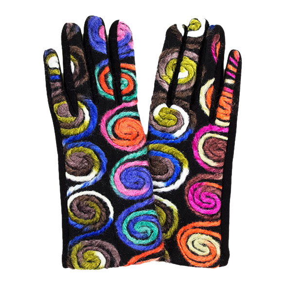 Touch Screen Smart Gloves - Fleece Lined  - 570-GR/NEW Spiral Yarn Design Smart Gloves (Multi Color w/ BLACK Palms)