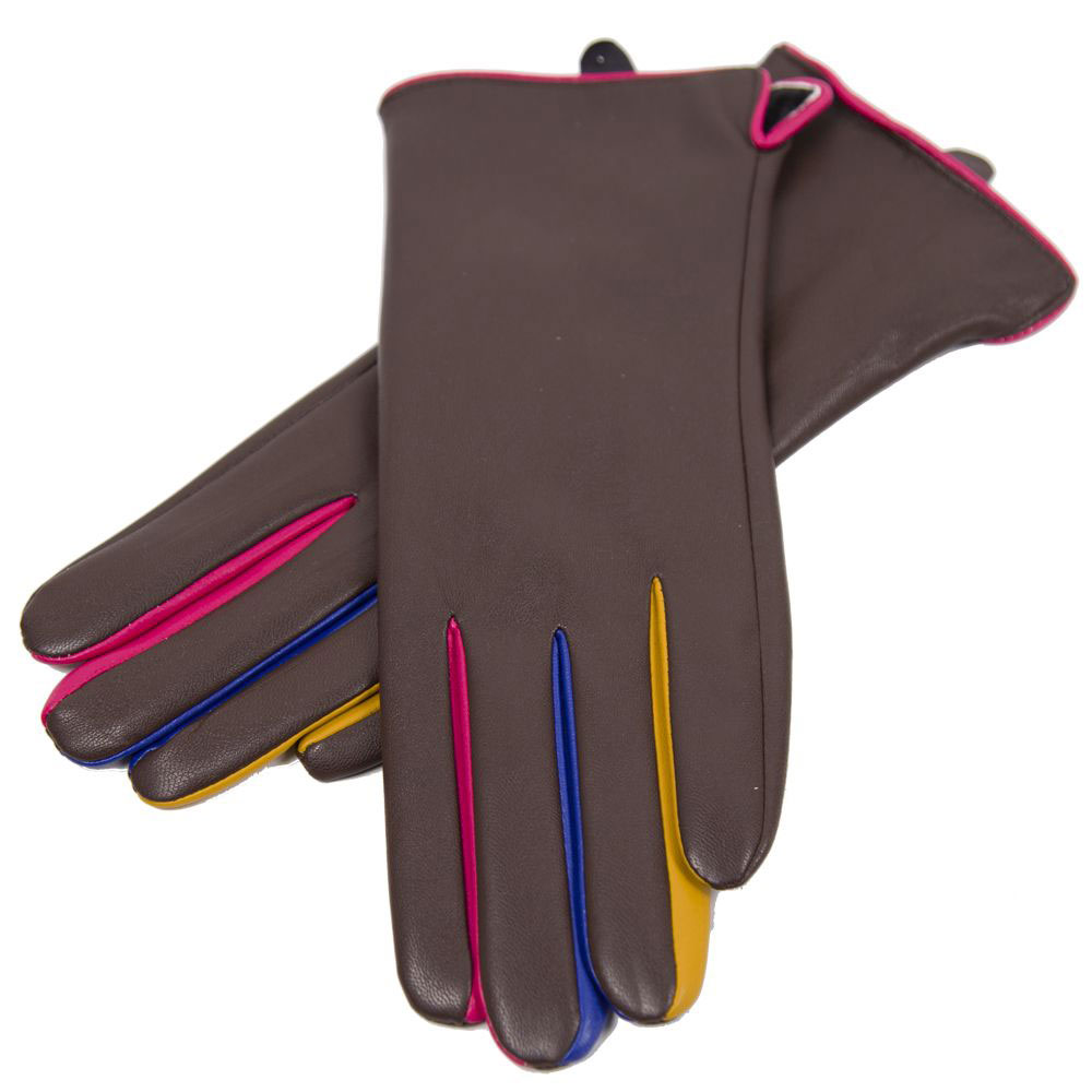 Touch Screen Smart Gloves - Fleece Lined  - JG808 COFFEE Faux Leather with Multi Color Accents
