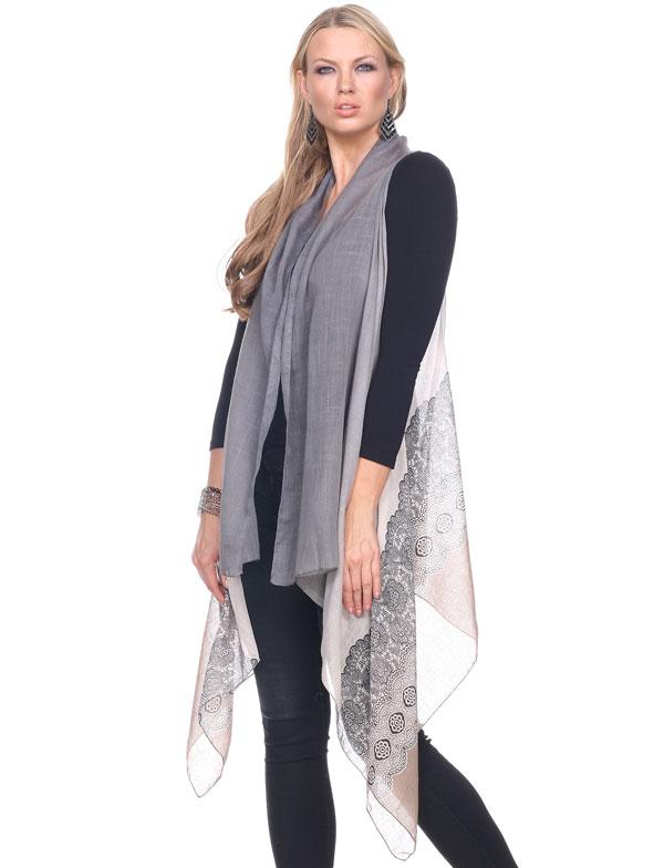 Scarf Vests - Gradient Lace Print 1262 - Beige Accent