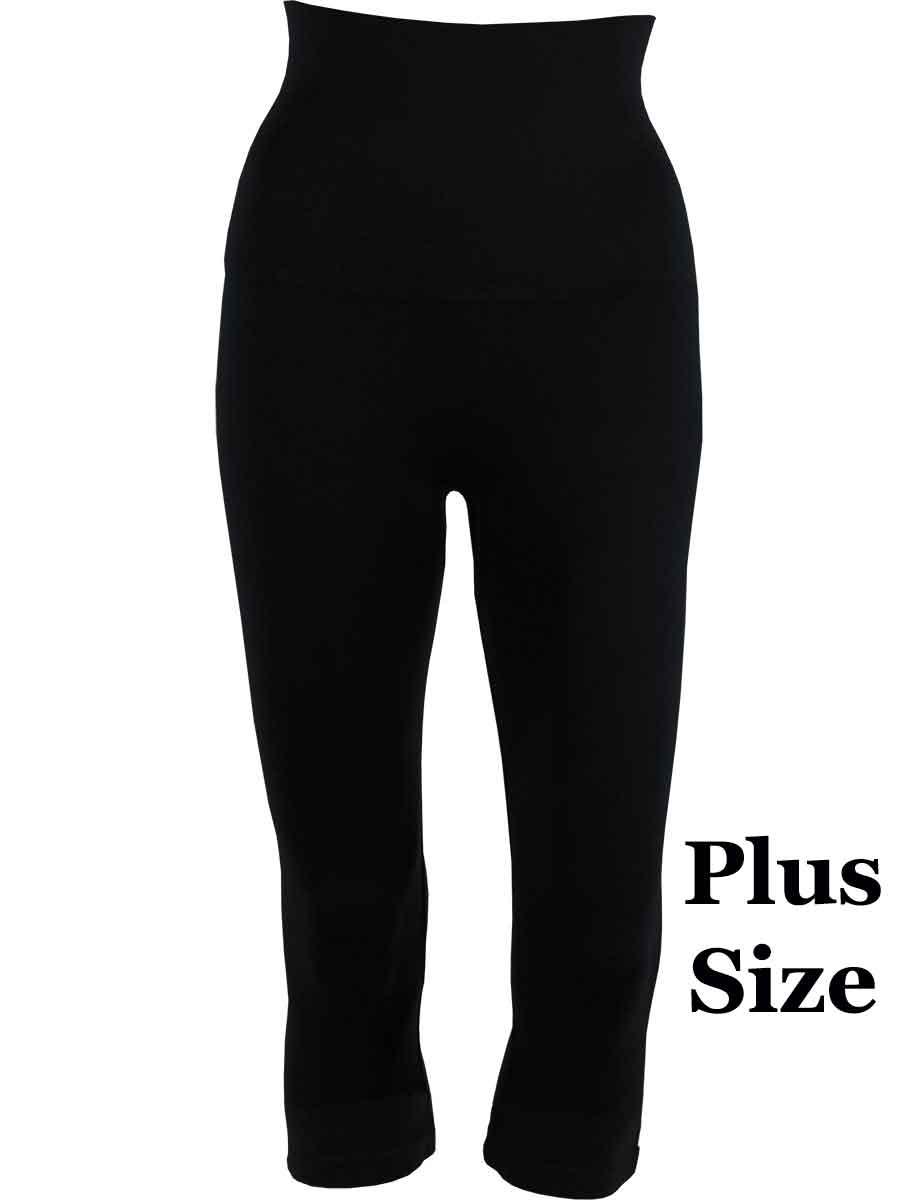 Black Plus Tummy Control SmoothWear Capri Leggings