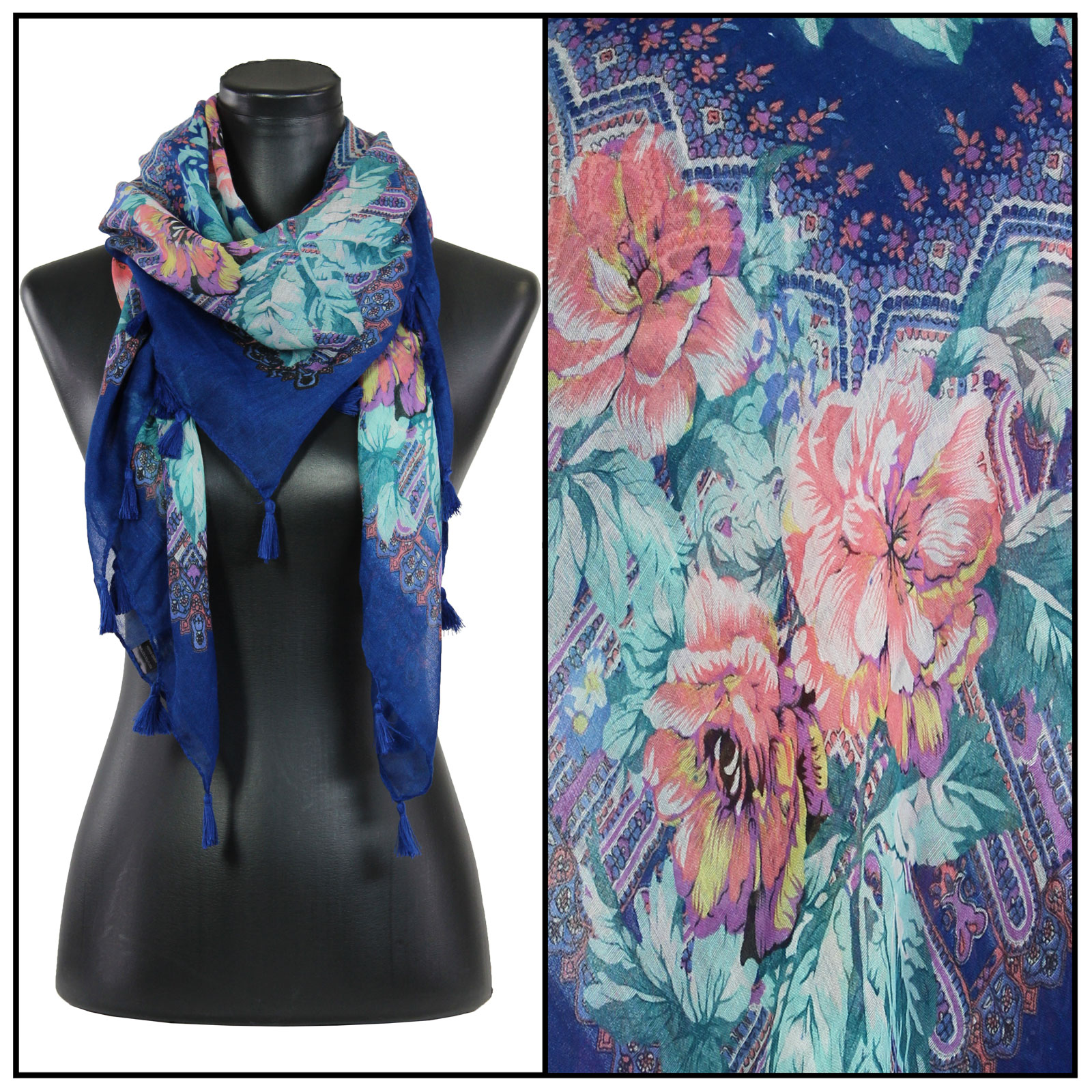 magic scarf square scarves flower paisley 1318