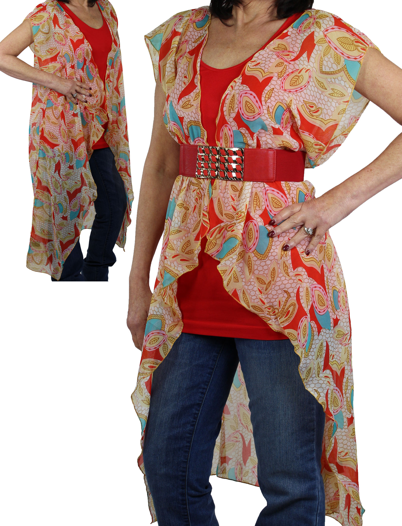 Vests - Chiffon Duster 1124, 1125, & 1127 - 1124 Red