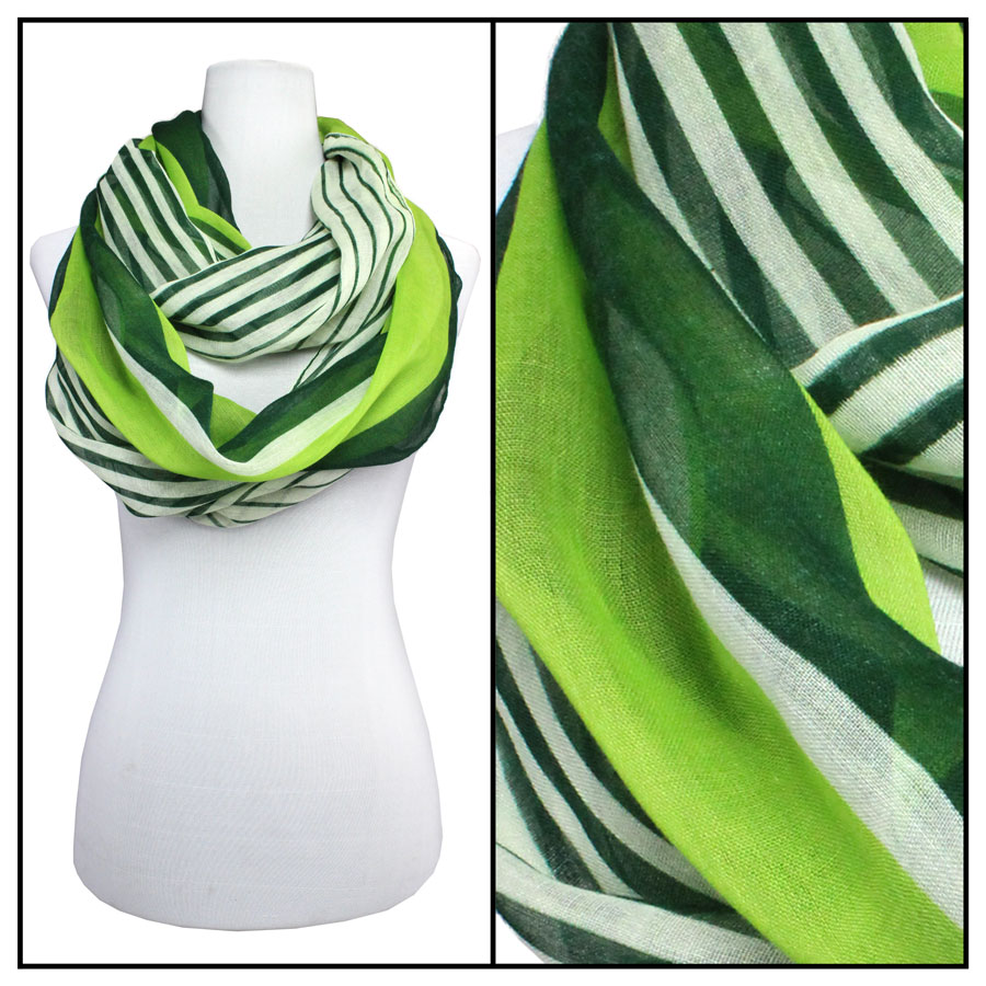 Cotton Feel and Jersey Knit Summer Infinities - Multi Stripes 3328 - Green