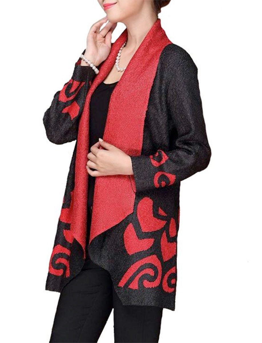 Art Crush Cardigan - Modern Abstract Design - Red and Black