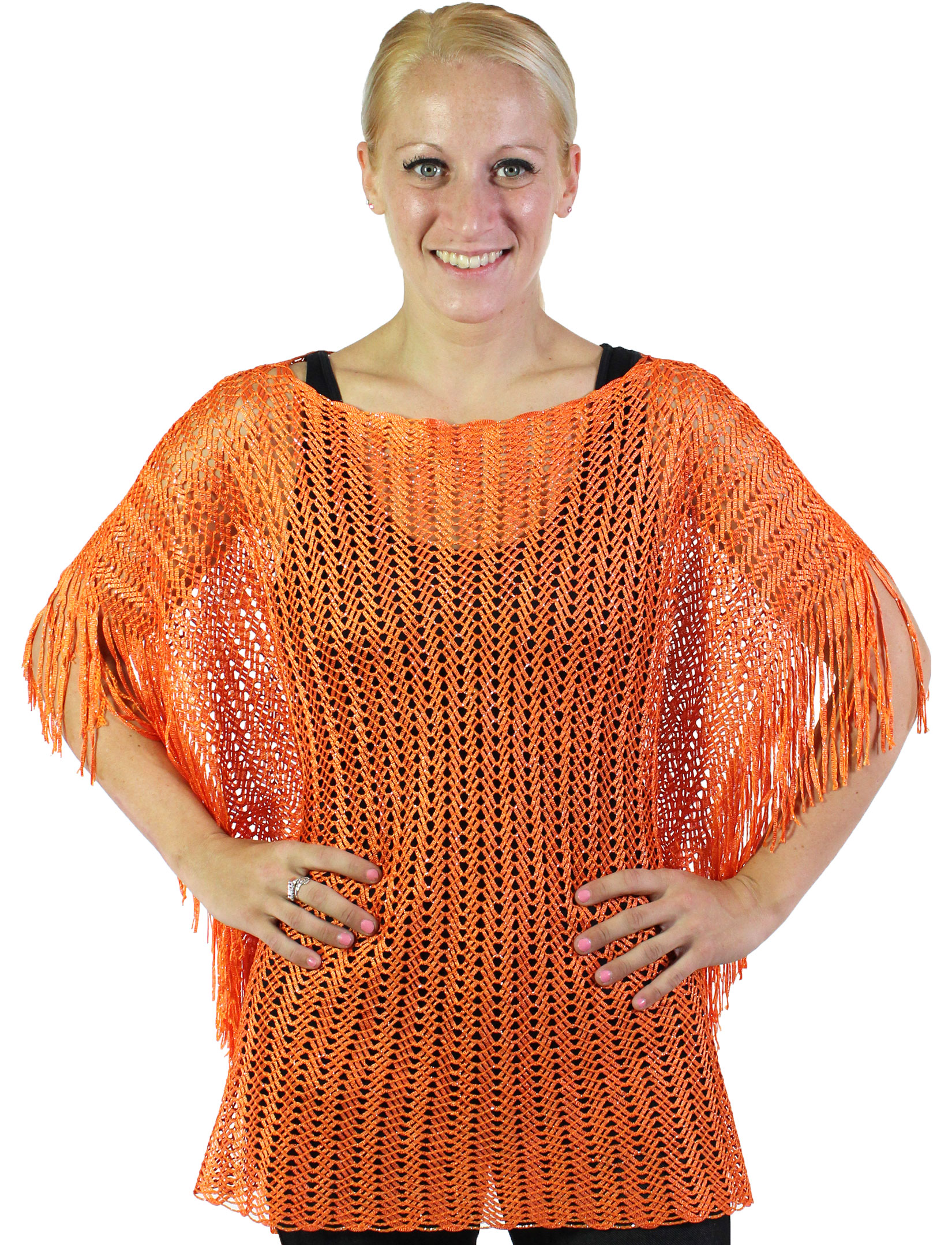 Poncho - Fishnet Metallic 6604 & 6608 - Orange (#04)