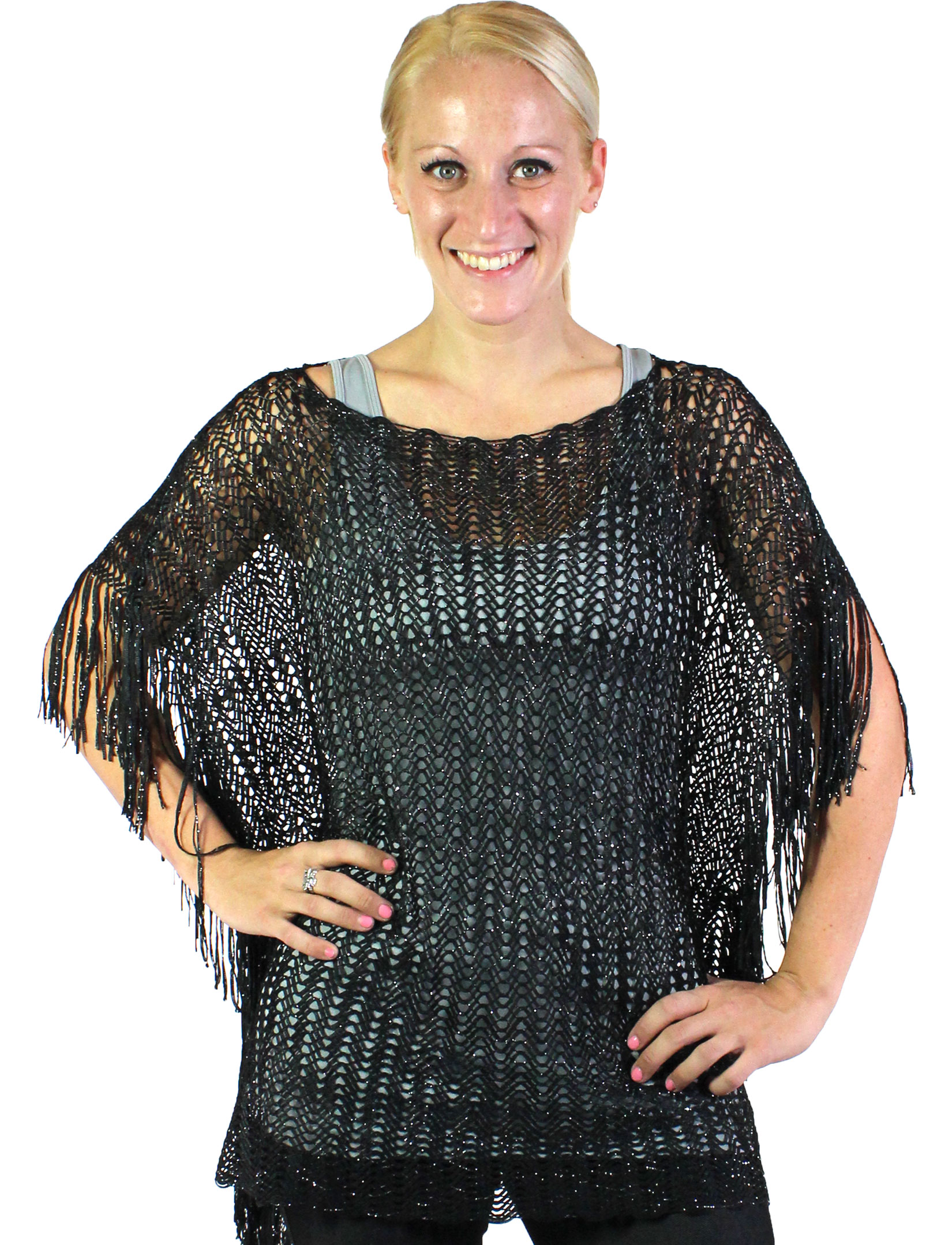 Poncho - Fishnet Metallic 6604 & 6608 - Black (#08)