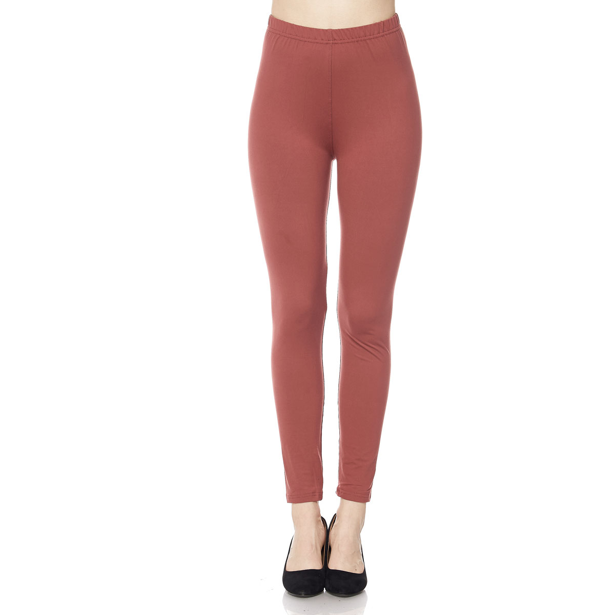 Brushed Fiber Leggings - Ankle Length Solids SOL0S - Marsala Brushed Fiber Leggings - Ankle Length Solids