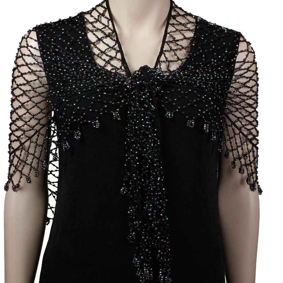 Wholesale Shanghai Beaded Triangle Black w/ AB Beads -