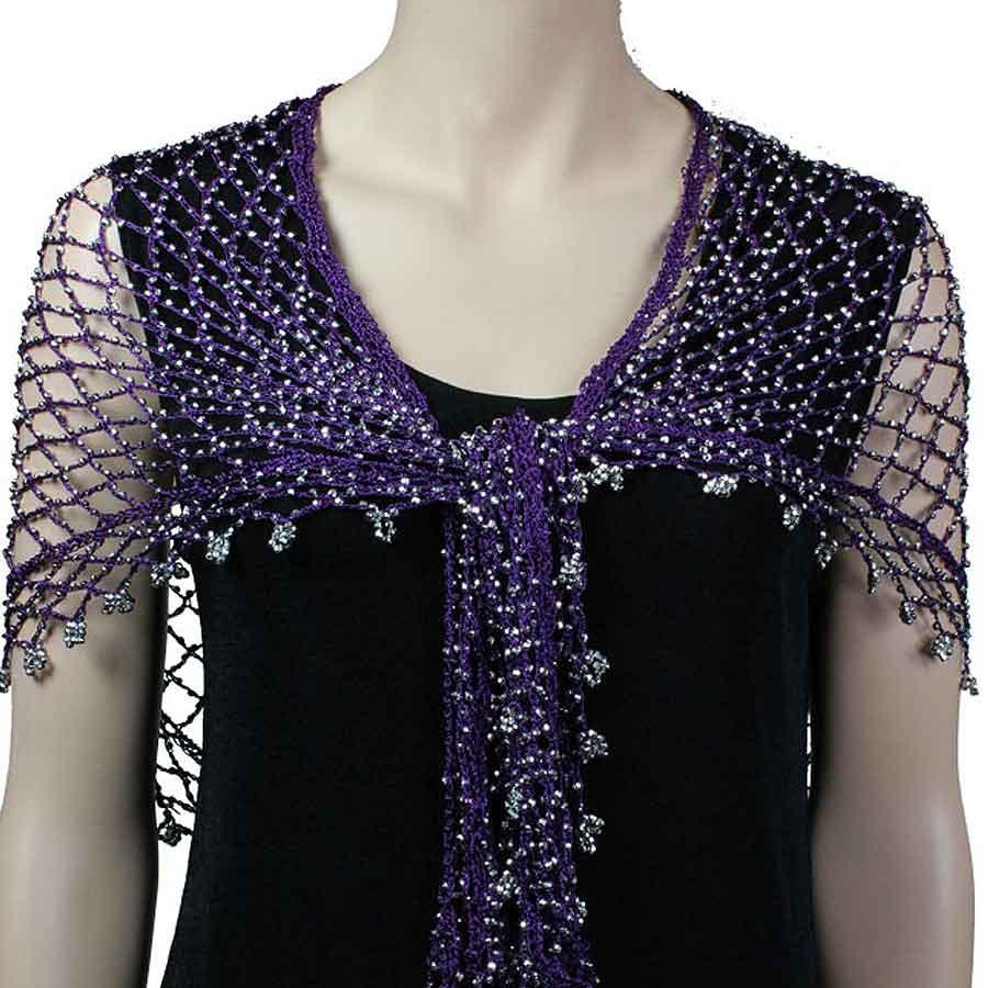Wholesale Shanghai Beaded Triangle Purple w/ Silver Beads -