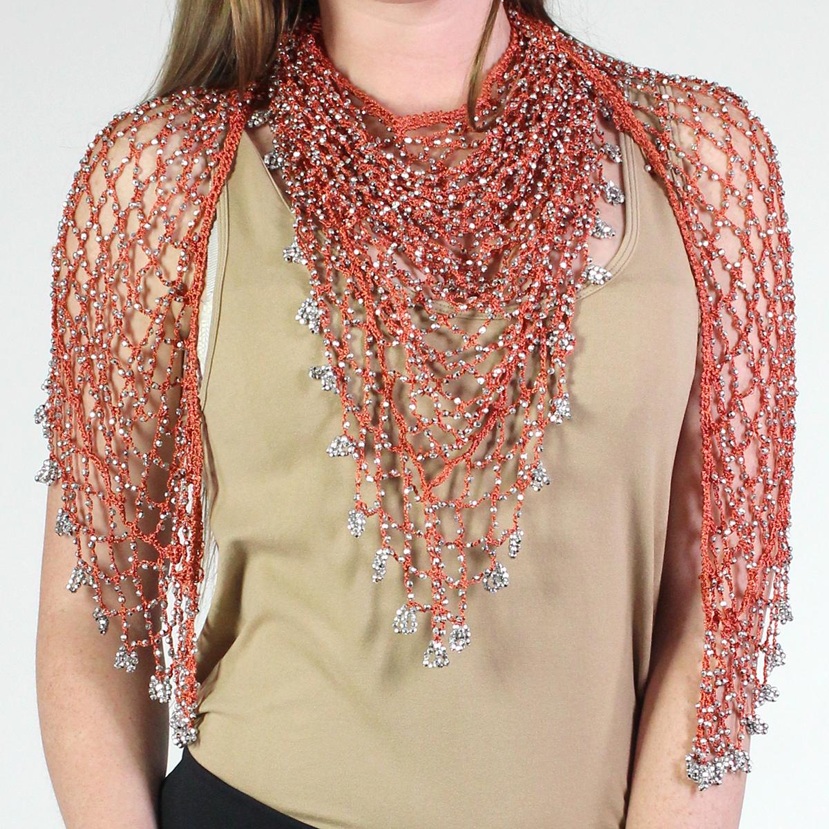 Wholesale Shanghai Beaded Triangle Orange w/ Silver Beads -