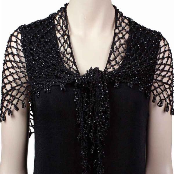 Wholesale Shanghai Beaded Triangle Black w/ Black Beads -