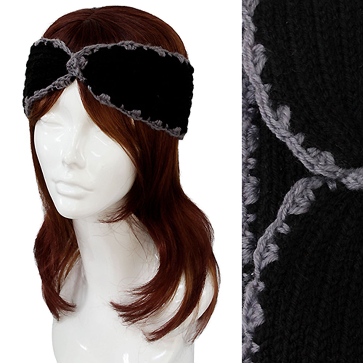 Knitted Head Wraps - #2001 Black Knitted Head Wrap
