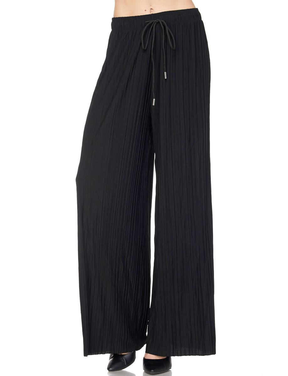 Pleated Wide Leg Pants - Georgette