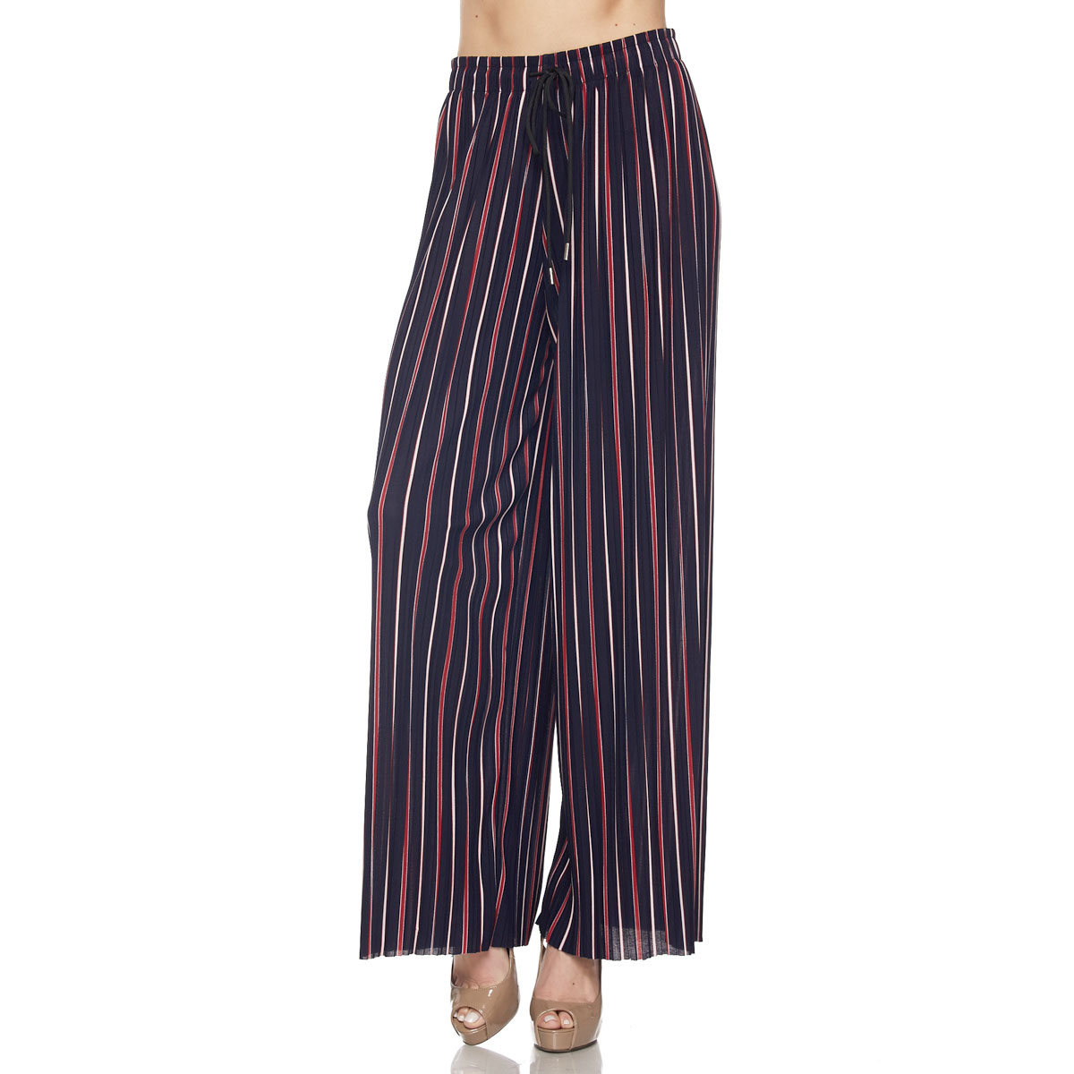 Pleated Wide Leg Pants - Georgette 902 - Ankle Length - #01 Navy-Red Striped w/ Drawstring