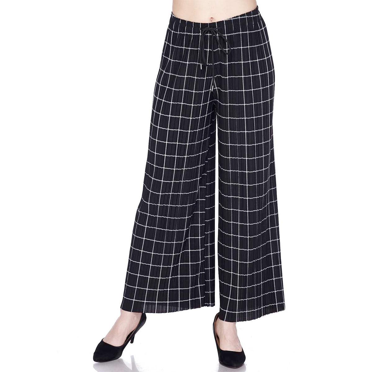 Wholesale Magic Crush Georgette - Three Quarter Sleeve* Ankle Length - #16 Grid Print Black-White w/ Drawstring - One Size Fits All