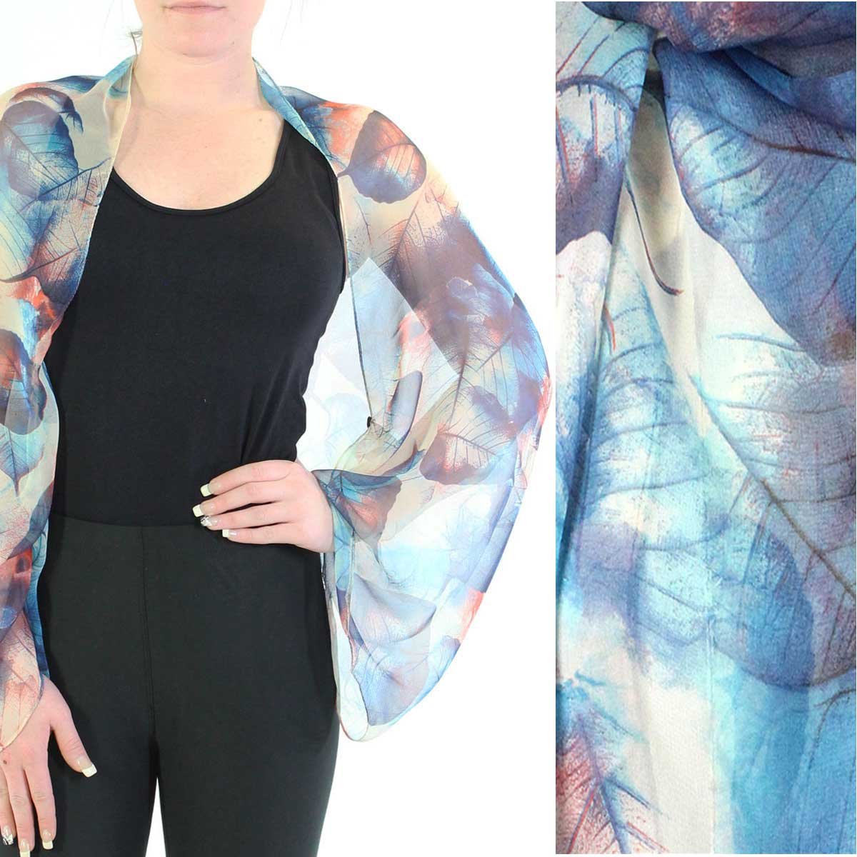 Silky Button Shrug (Chiffon) - #129 Blue (Leaves)