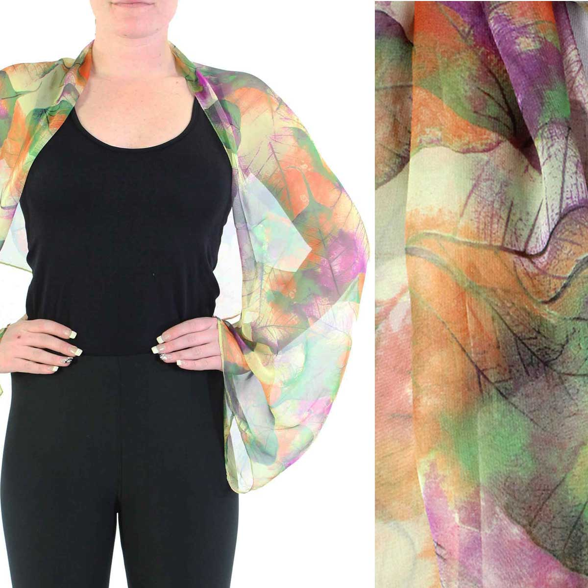Silky Button Shrug (Chiffon)