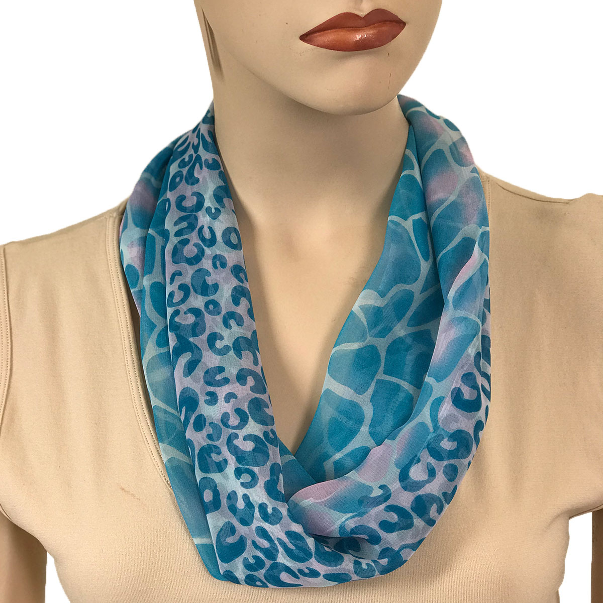 Silky Dress Scarves with Magnetic Clasp - #713 Turquoise (Giraffe-Leopard) (Silver Magnet)-A