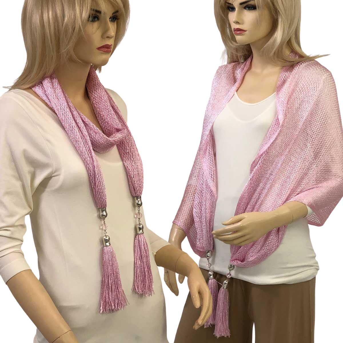 Oblong Scarves - Metallic w/ Jewelry MFNJ - Fishnet - Light Pink (#7)