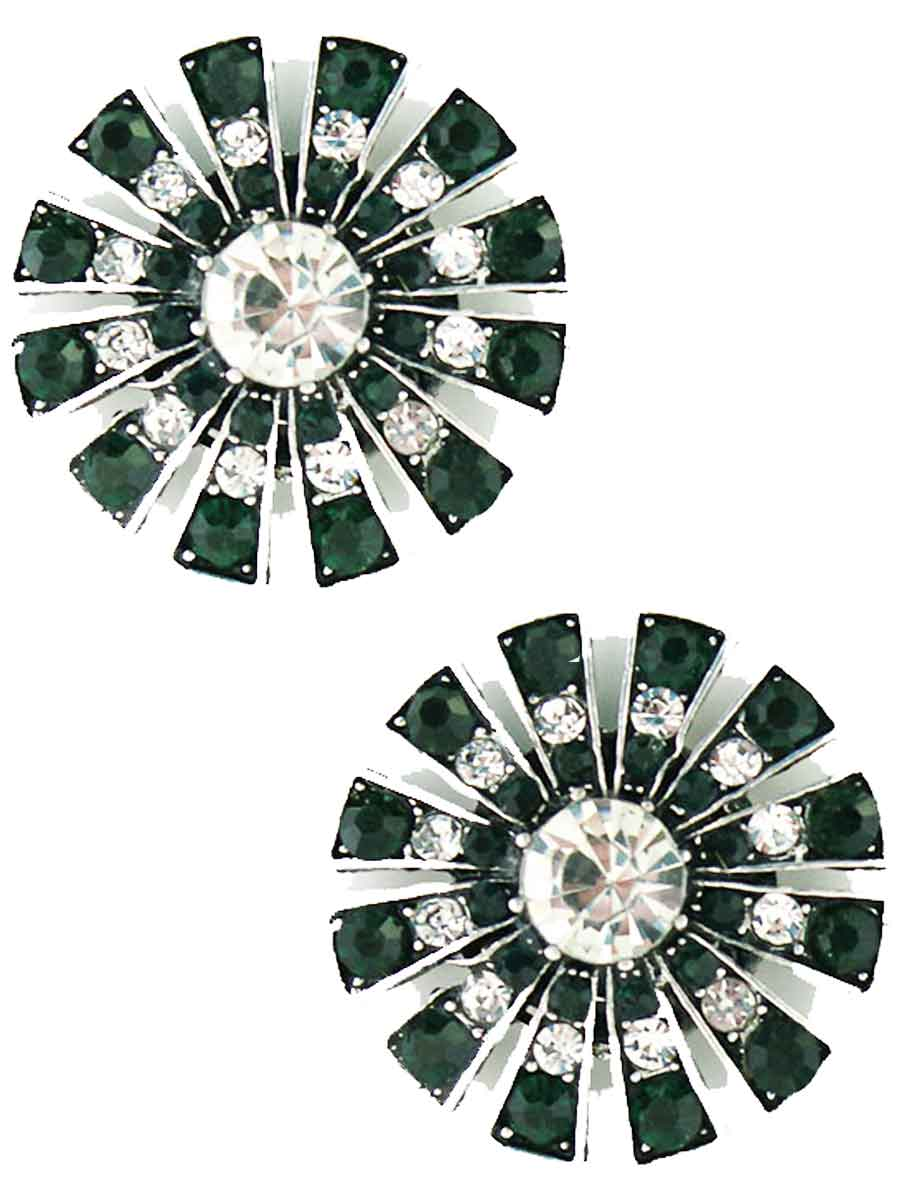 Magnetic Brooches Starburst Design - Double Sided - 408 Clear-Emerald (Double Sided)