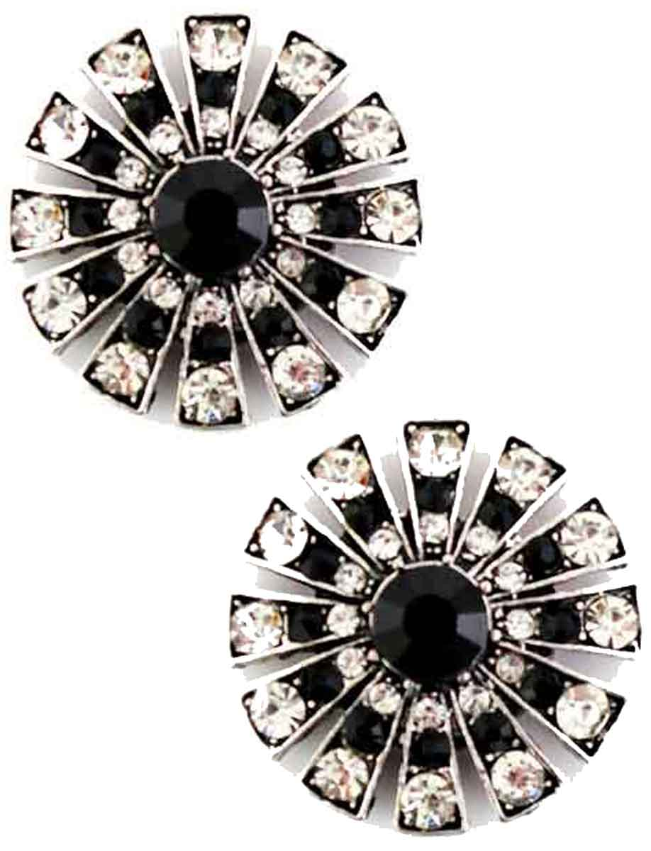 Magnetic Brooches Starburst Design - Double Sided - 408 Black-Clear (Double Sided)