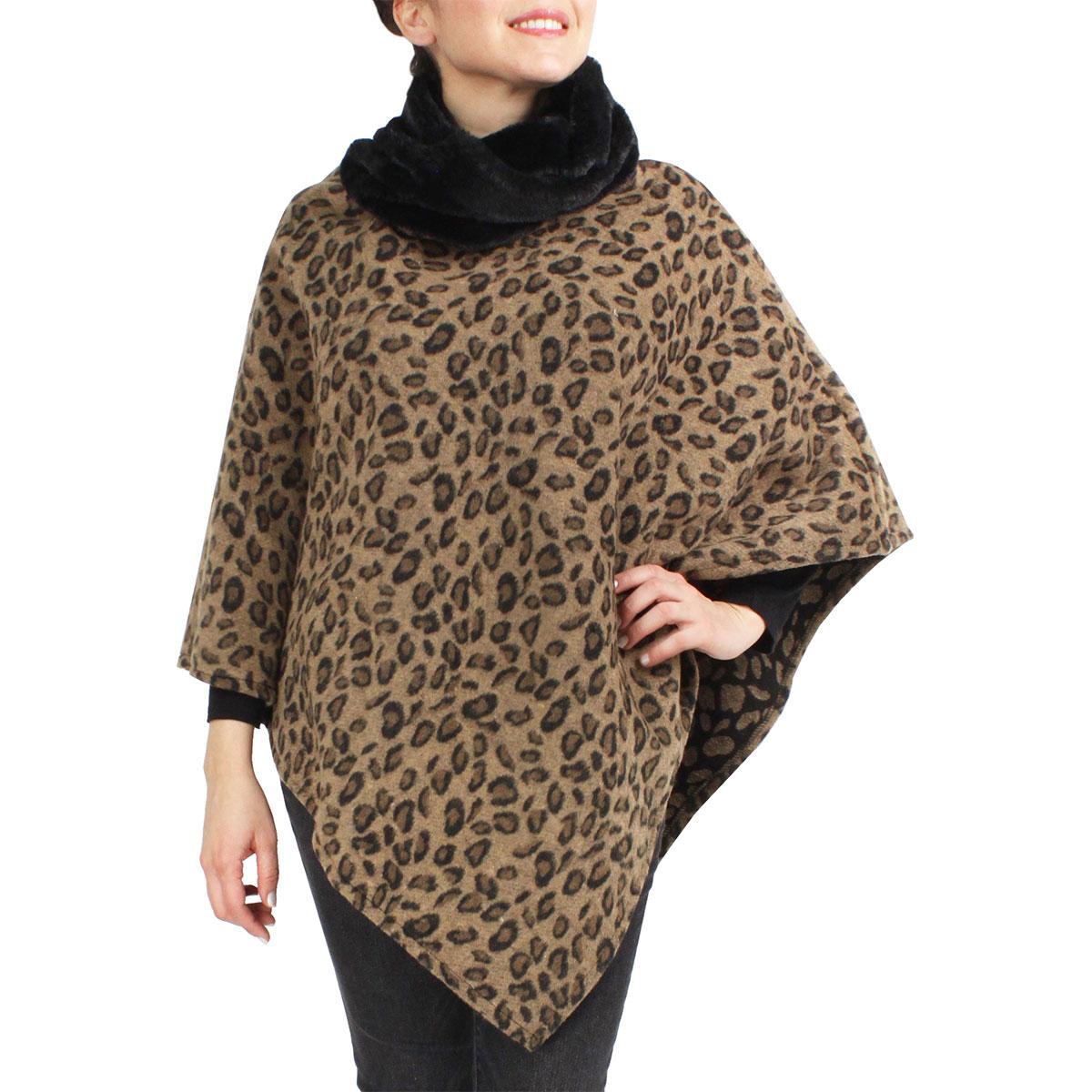 Winter Ponchos - Faux Fur Designs - Animal w/ Fur Collar 9396 Leopad Print Taupe