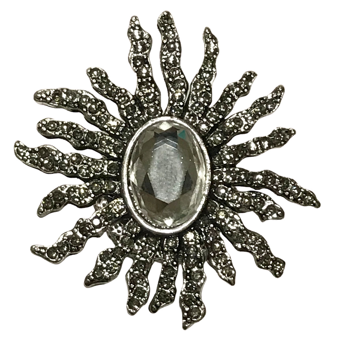 Magnetic Brooches - Artful Design - Plain Back - #614 Sunburst with Oval Crystal Magnetic Brooch