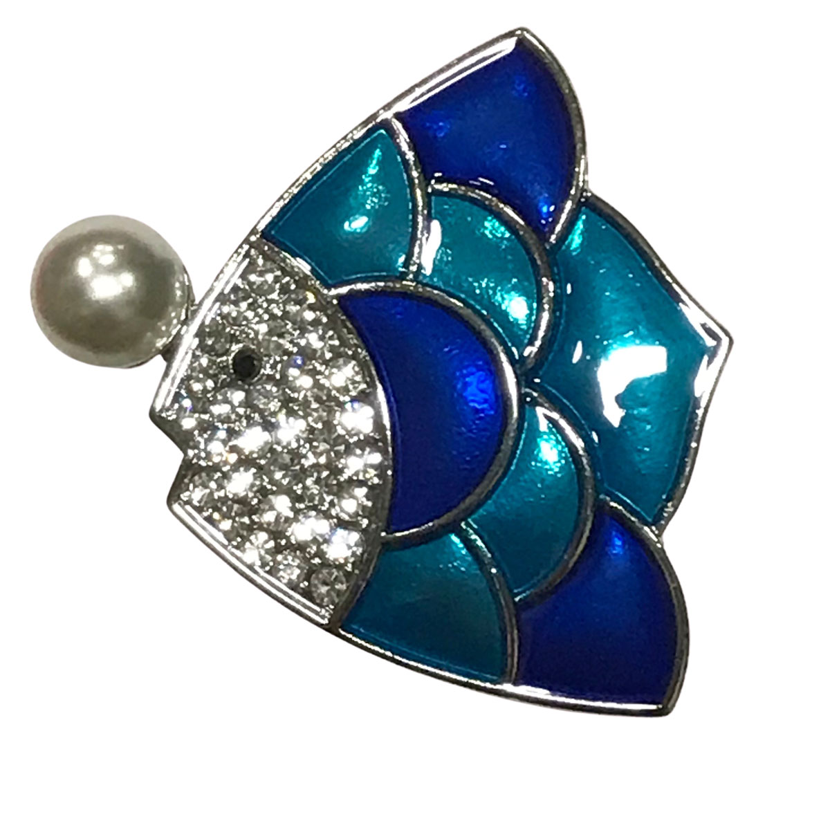 Magnetic Brooches - Artful Design - Plain Back - #620 Sunfish with Pearl Magnetic Brooch