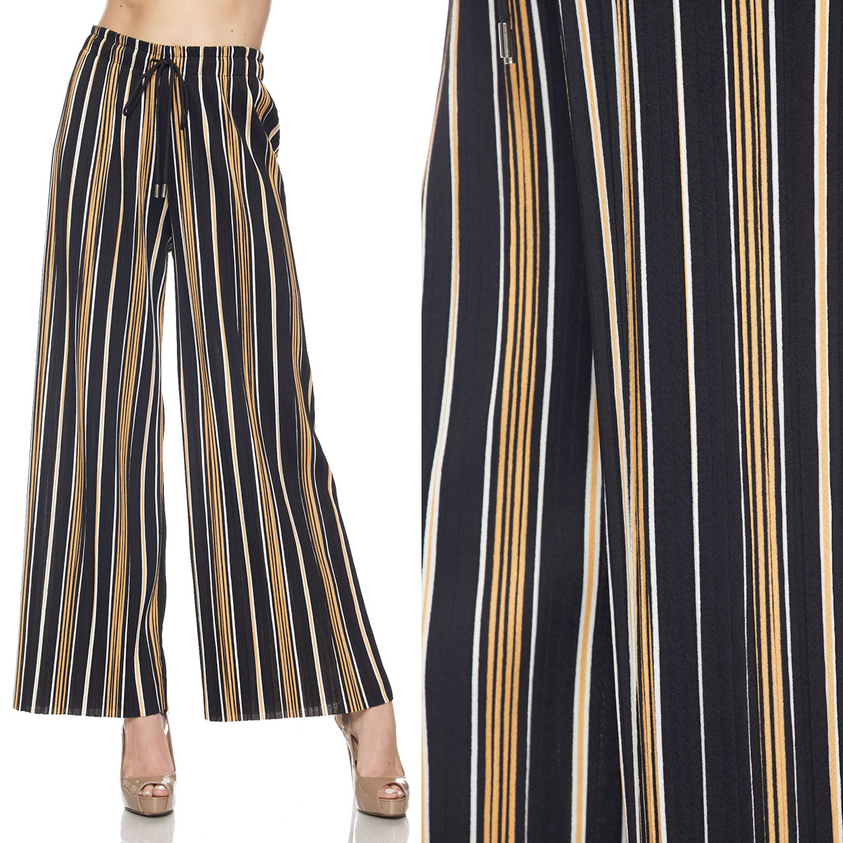 Pleated Wide Leg Pants - Stretch Twill