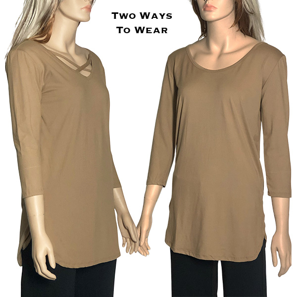 Brushed Fiber Criss Cross Tunic Tops - Taupe