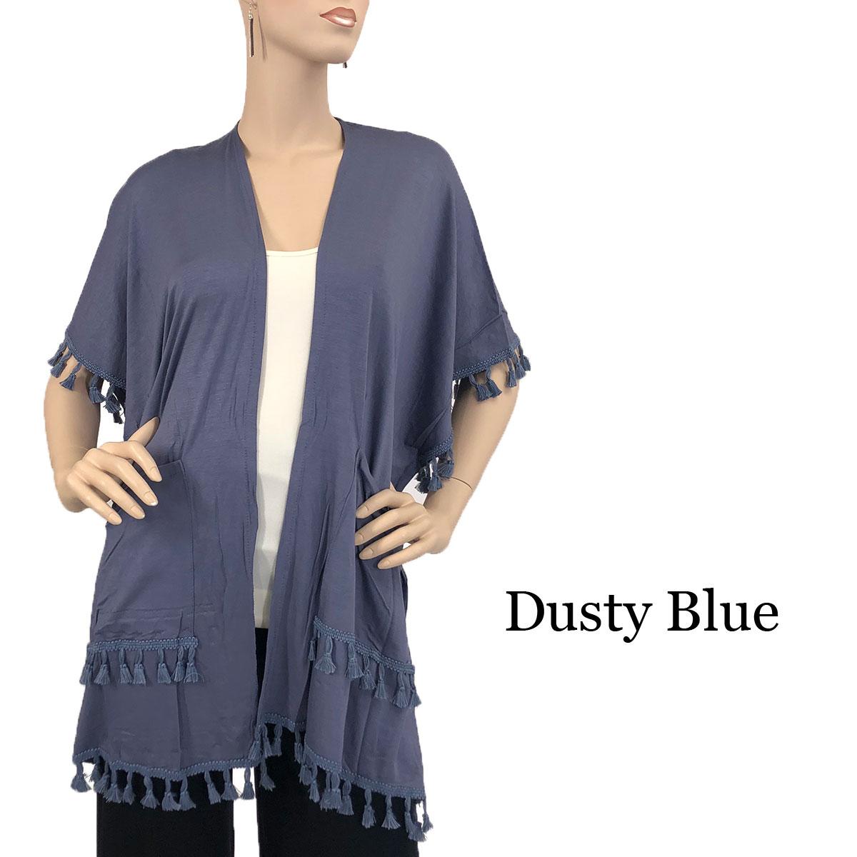 Kimono - Solid w/ Tassels & Pockets 9771 - Dusty Blue