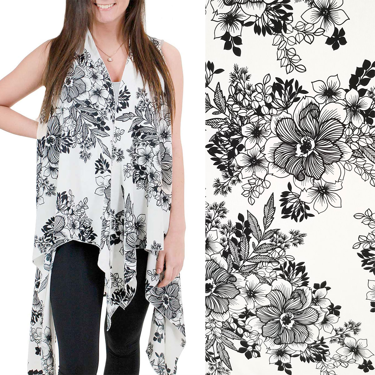 Brushed Matte Satin Scarf Vests (Style 2) - #9321 White MB