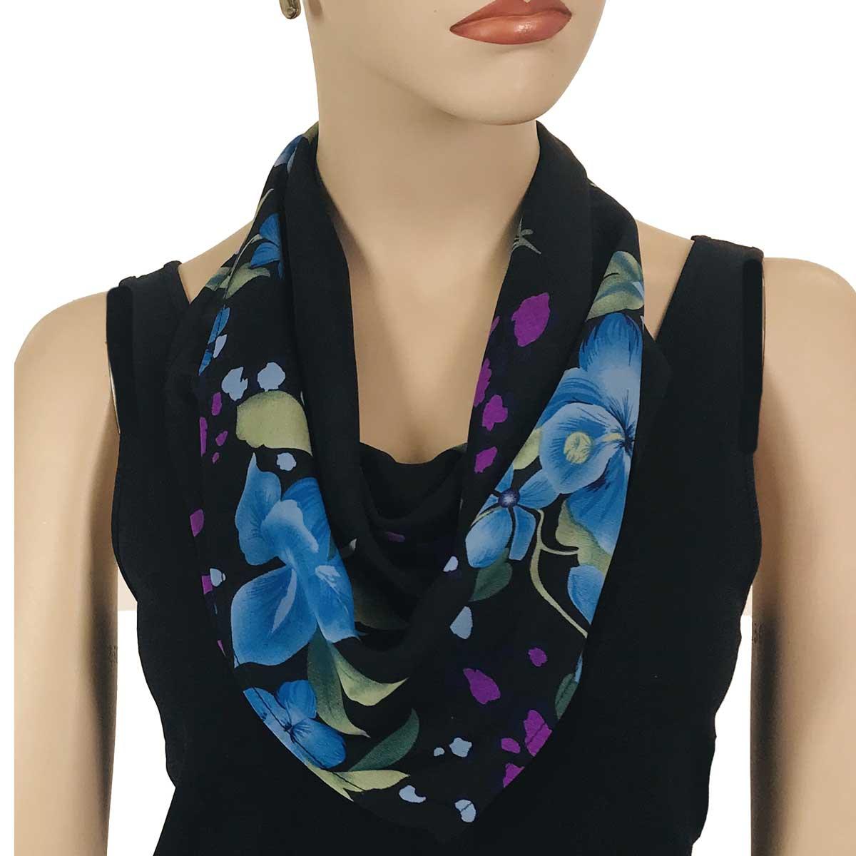 Wholesale Magic Crush Georgette - Three Quarter Sleeve* Black-Blue Floral -