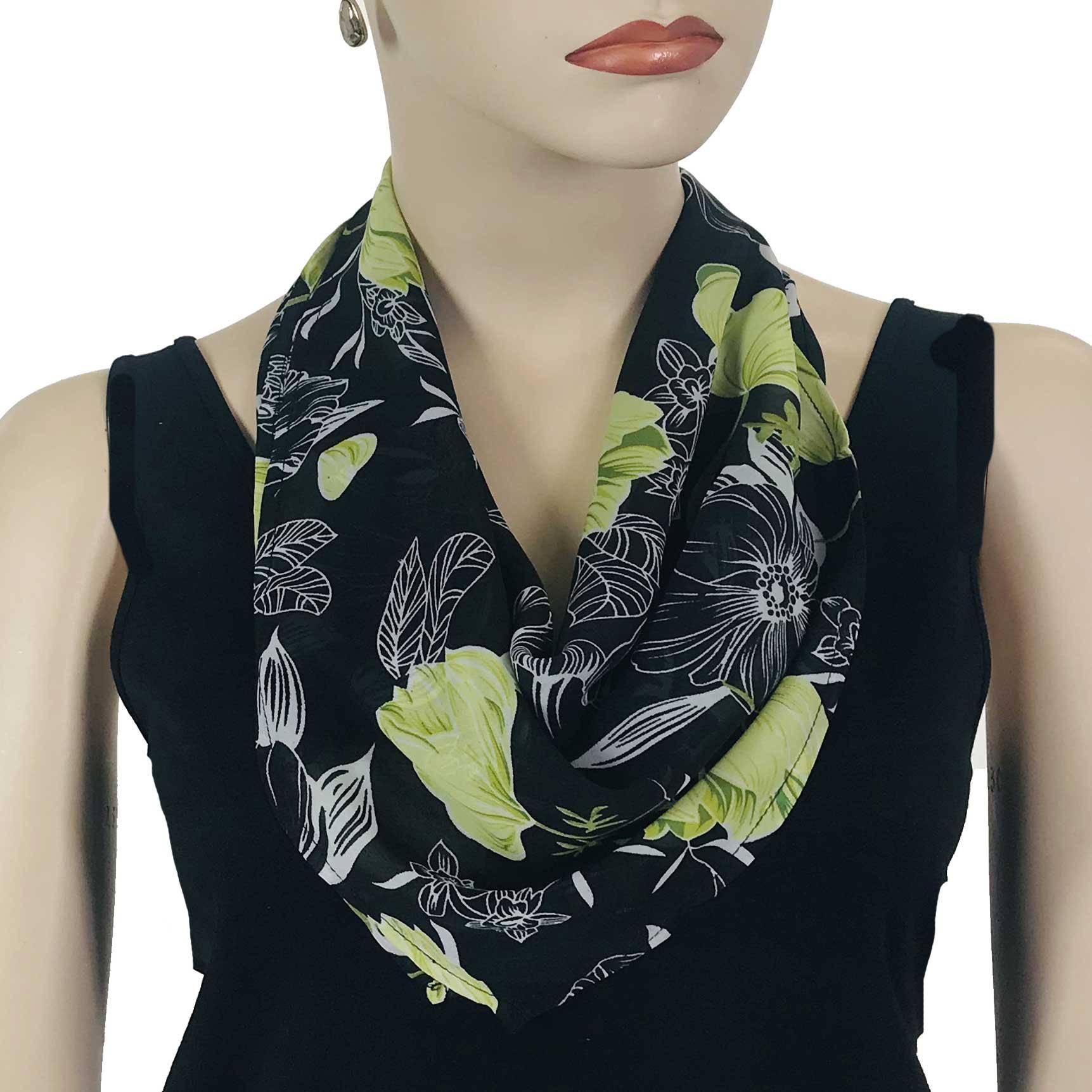 Wholesale Magic Crush Georgette - Three Quarter Sleeve* Black-Kiwi Floral -