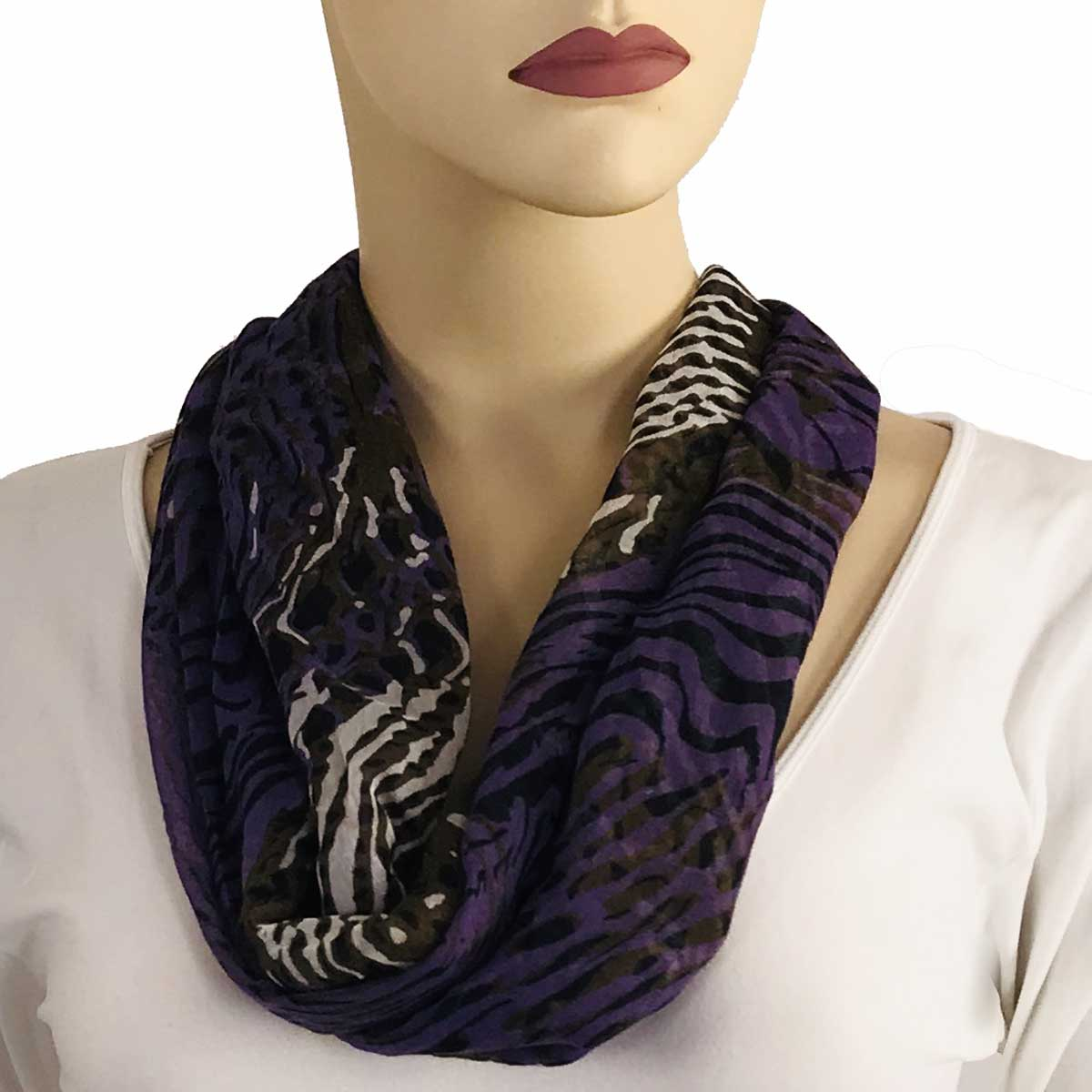 Magnetic Clasp Scarves (Cotton Touch) - #06 Abstract Animal Print Purple-Brown (Silver Clasp)