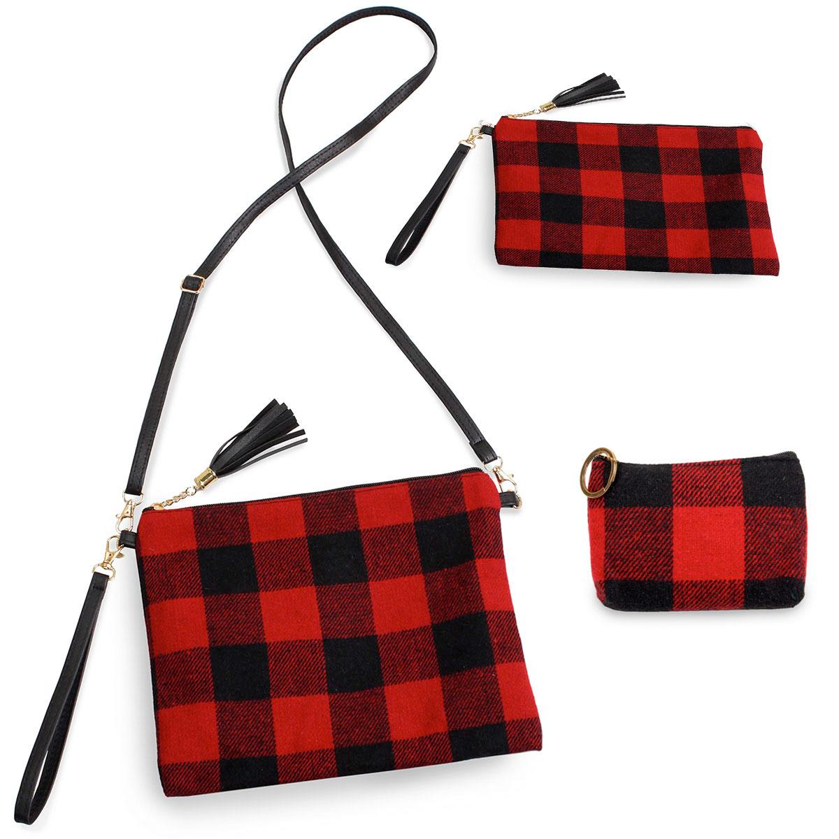 Crossbody Bags & Coin Purses - Plaids - 9882 Buffalo Check Red (Three Piece Set)