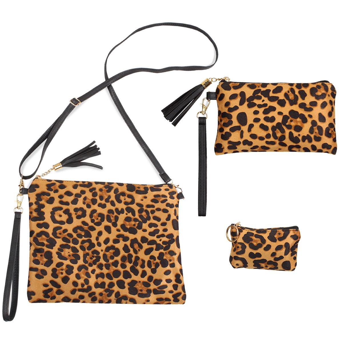 Suede/Vinyl Crossbody Bags, Wristlets+Coin Purses - 9379 Leopard Print Beige (Faux Suede)