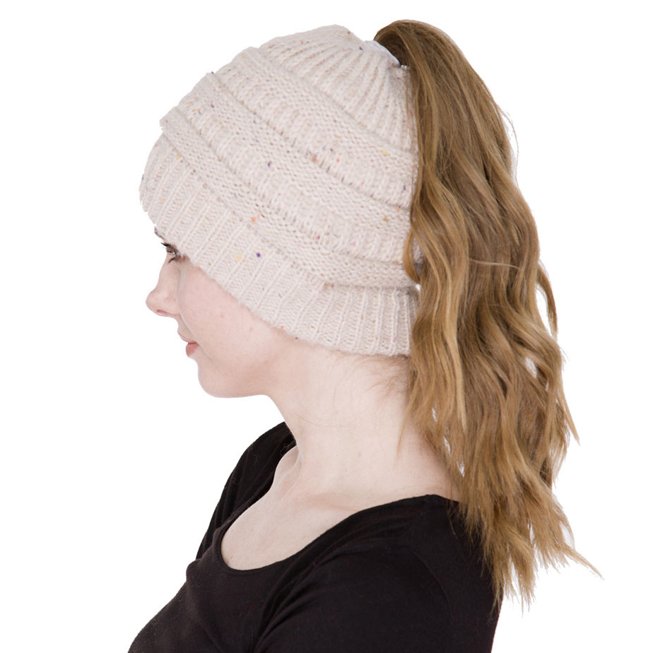 Knit Beanie - Ponytail  Messy Bun Style  - JH222 Beige Ponytail Knitted Cap