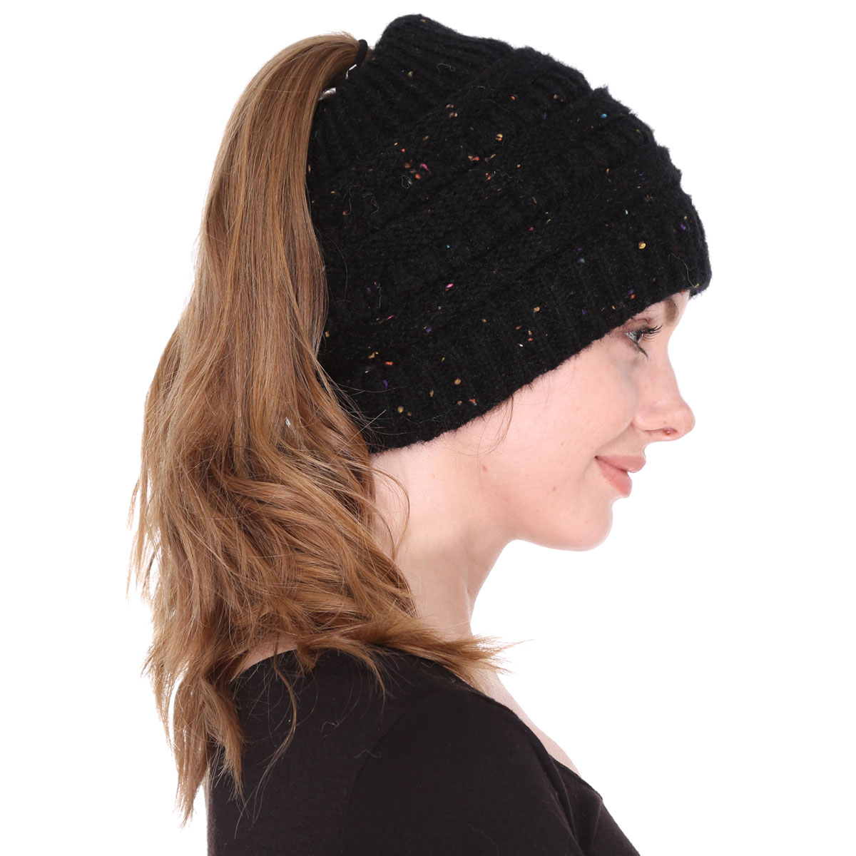 Knit Beanie - Ponytail  Messy Bun Style  - JH222 Black Ponytail Knitted Cap