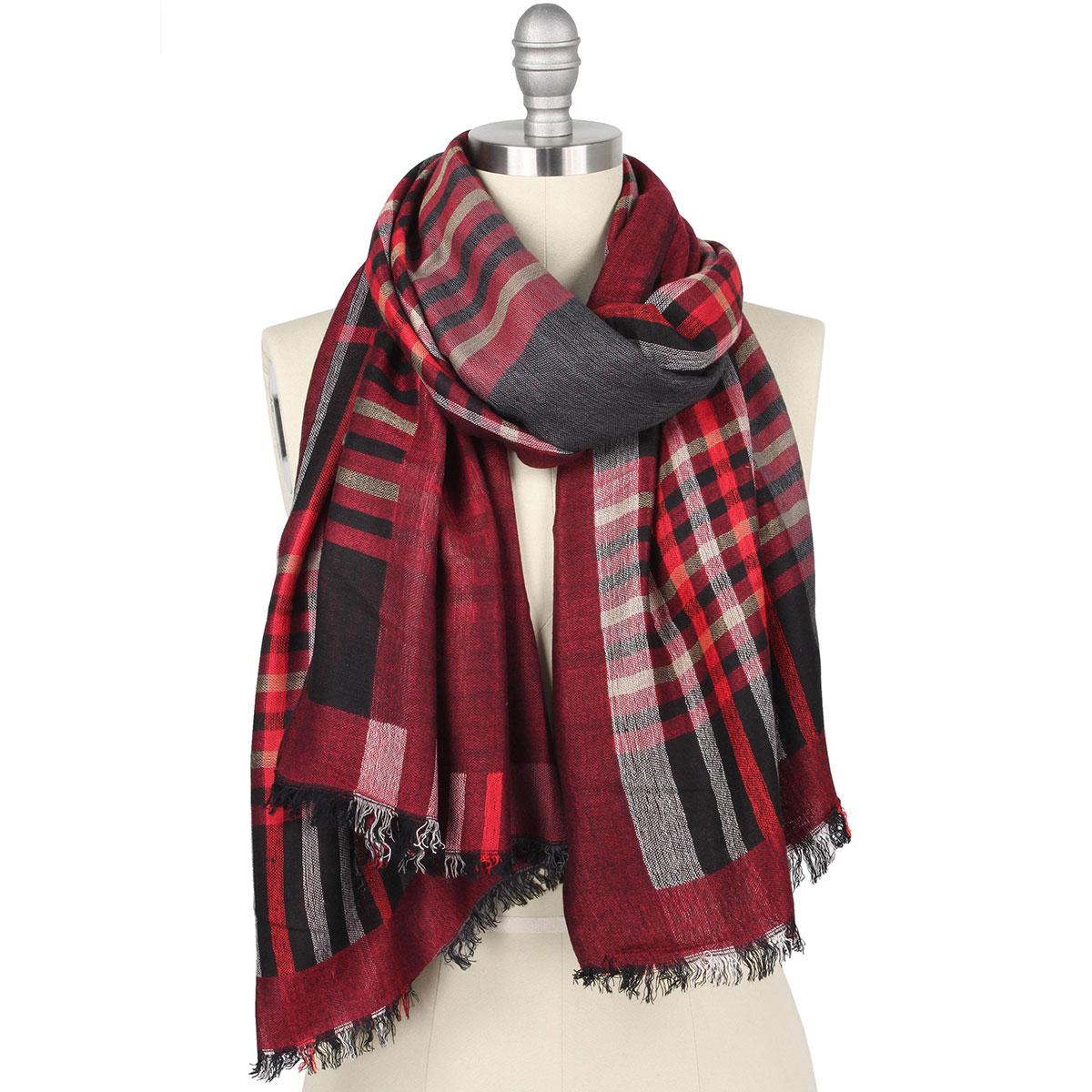 Oblong Scarves/Shawls - Plaid 9525 - Burgundy