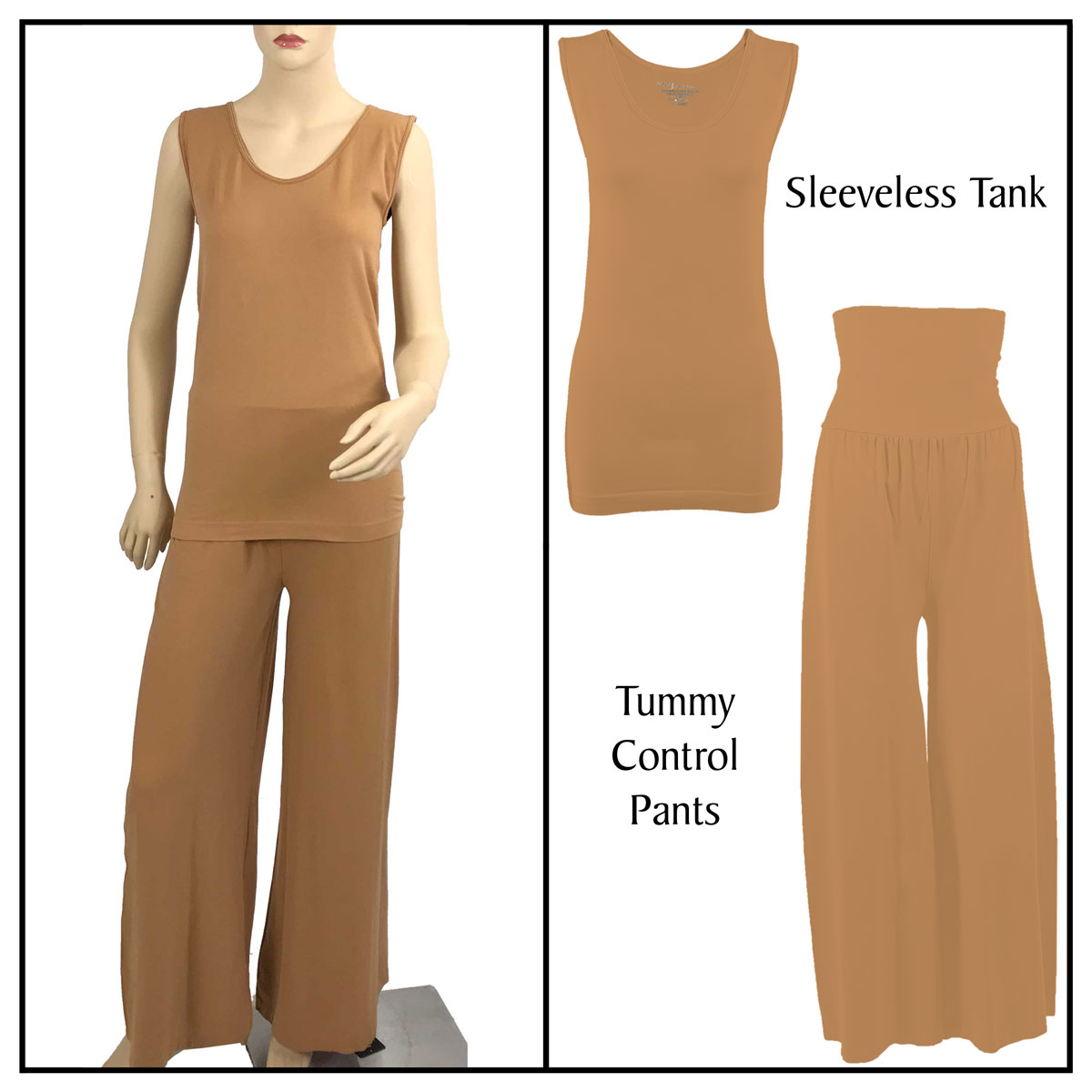 Smooth Beginnings (SmoothWear Sleeveless + Pants) - Copper Sleeveless Top (One Size) with Pants