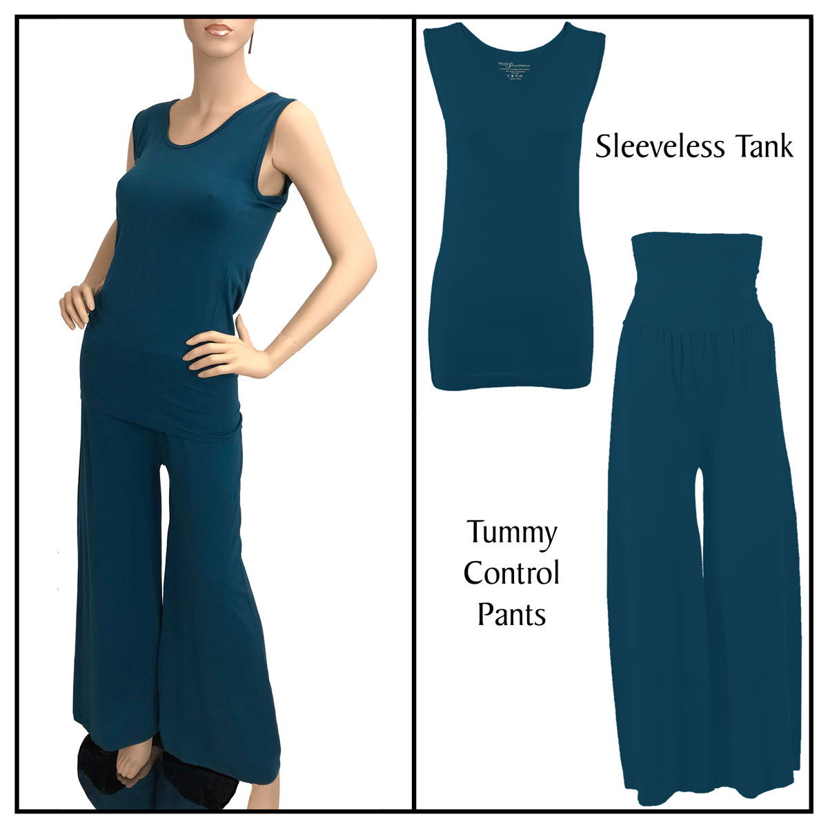Smooth Beginnings (SmoothWear Sleeveless + Pants) - Dark Teal Sleeveless Top (One Size) with Pants