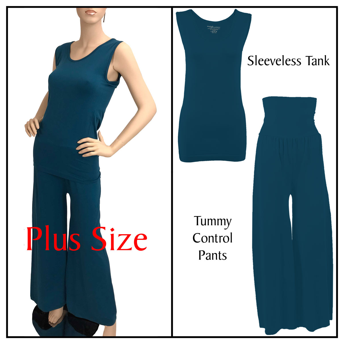 Smooth Beginnings (SmoothWear Sleeveless + Pants) - Dark Teal Sleeveless Top (Plus Size) with Pants