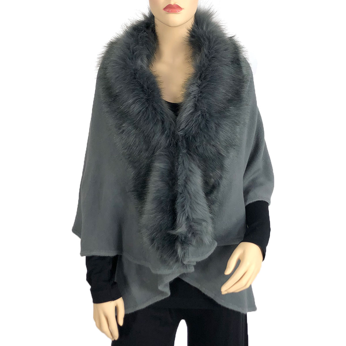 Cape Vests - Solid w/ Faux Fox Fur 93B9 - Grey