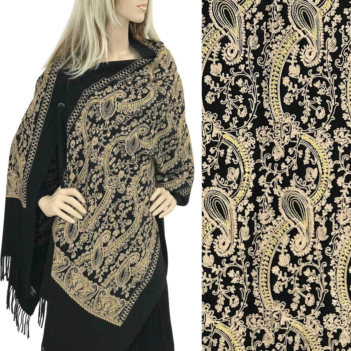 Embroidered Cashmere Feel Shawls w/Buttons (BCFEB)