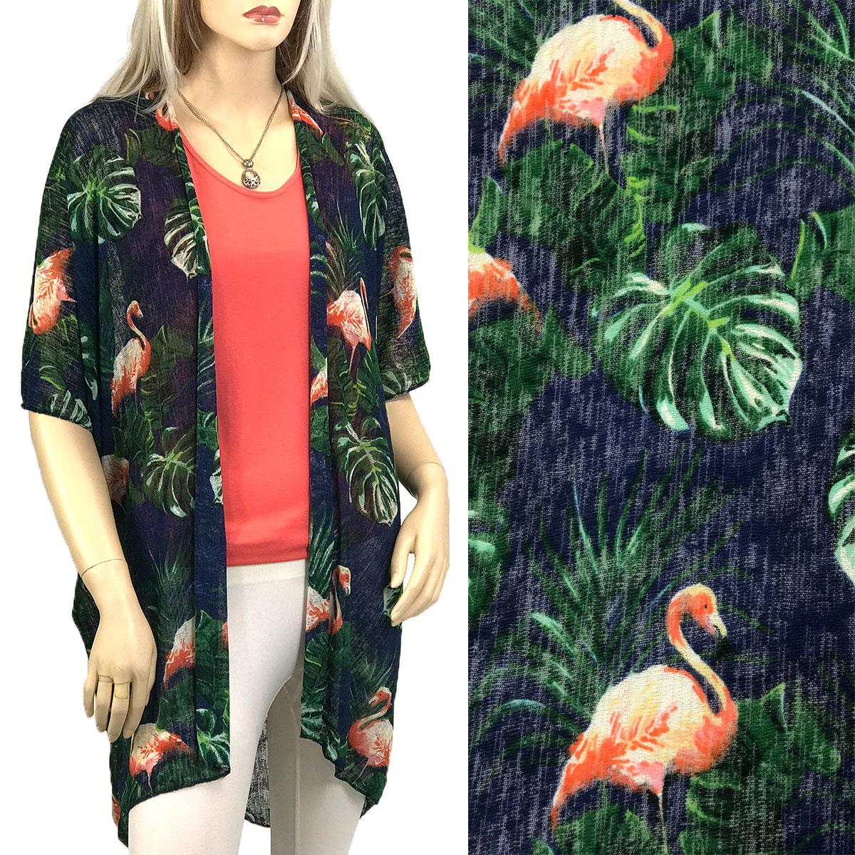 Kimono - Crepe 1389 & 835 - Flamingo Print 1389 - Navy
