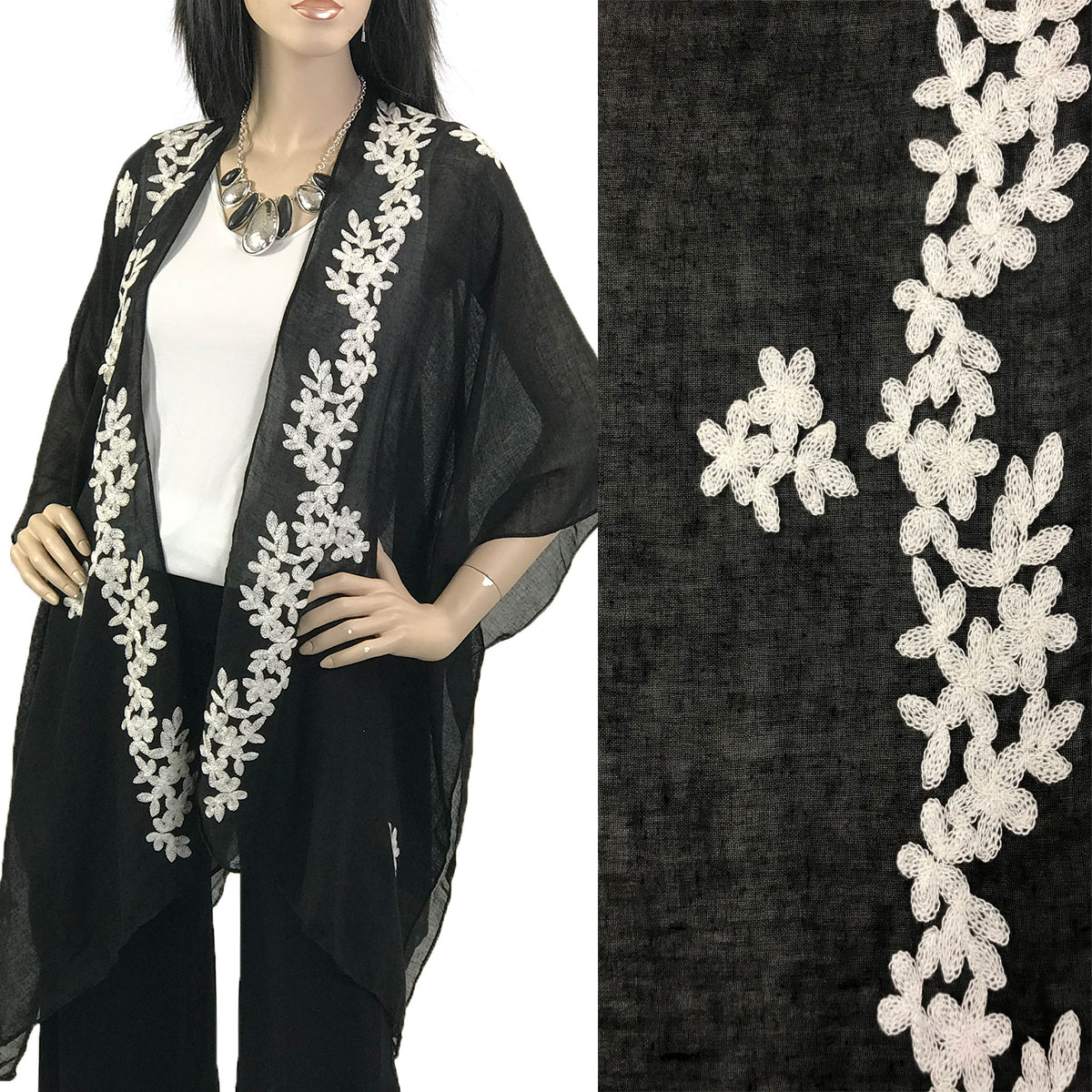 Kimono - Embroidered Floral 901 - Black