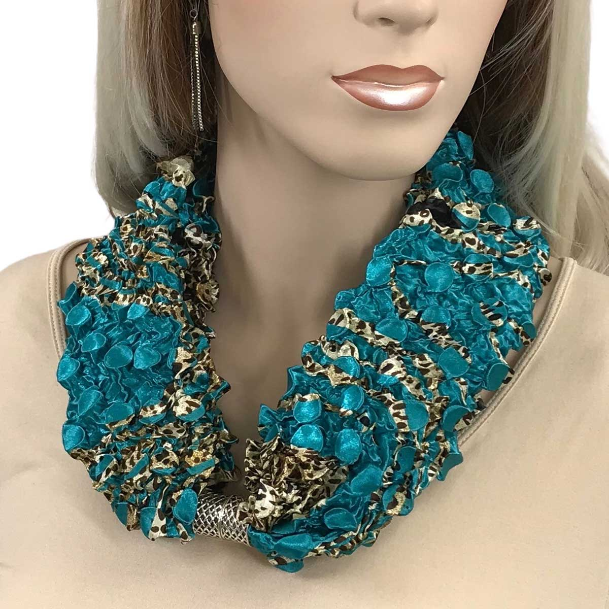 Magnetic Clasp Coin Scarves - #03 Animal Abstract Teal